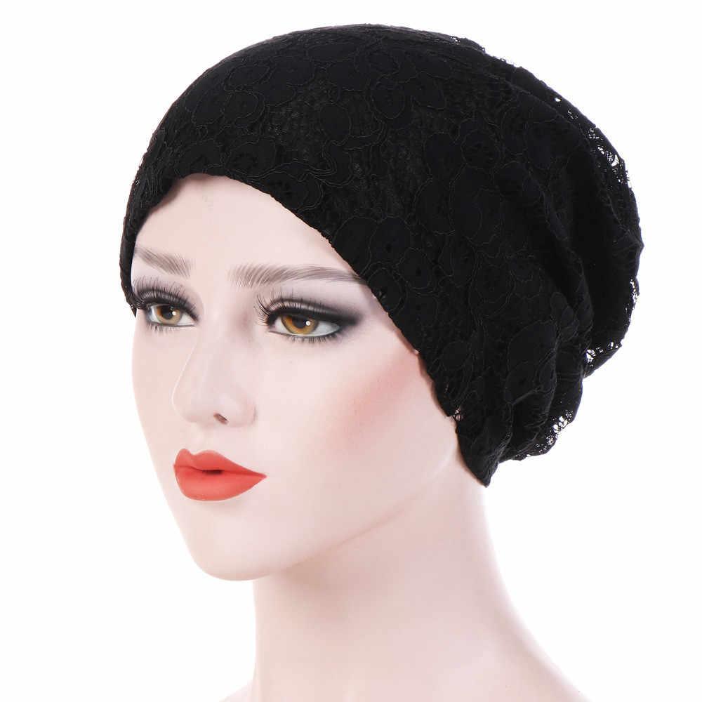Turbante musulmán de la India, diadema para mujeres, sombrero para el pelo de la quimio del cáncer, sombreros de encaje Floral, bufanda, gorro para la cabeza, gorro PJ0906