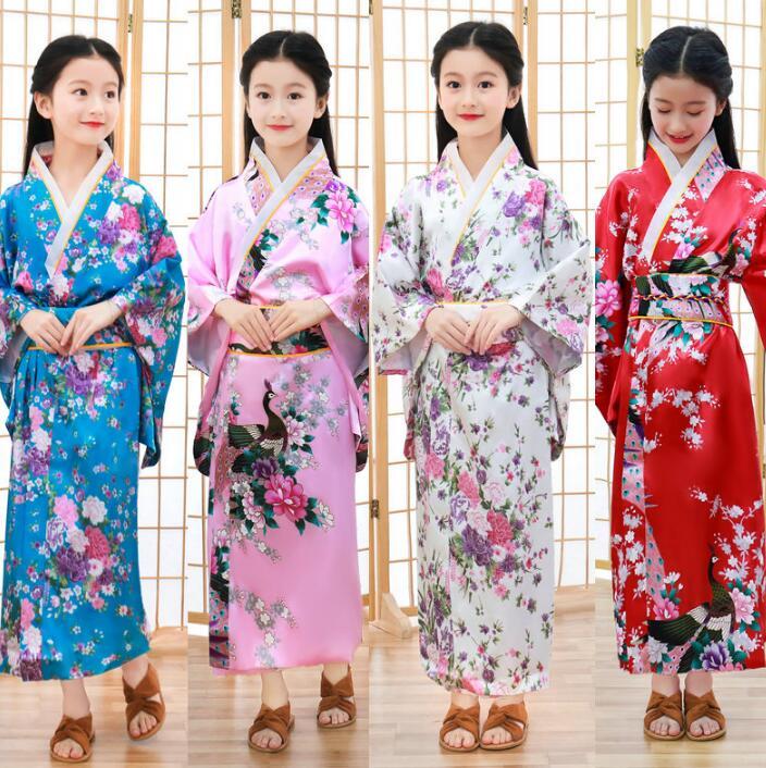 Japanese Traditional Print Kimono Fashion Bathrobe Costume Girl Performance Party Summer Kimono Children Shoot Clothing