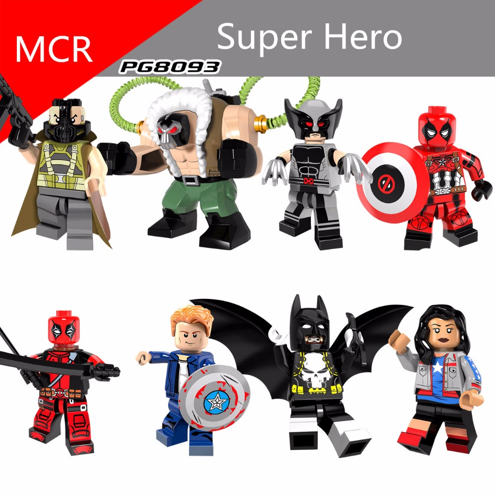 Figurines News 8pcs/lot The Avengers Building Blocks Super Hero Deadpool Little Figure Doll For Children Mini Legoing Birthday Gift Strengthening Sinews And Bones Model Building