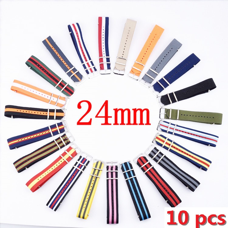 10pcs/lot watch band 24mm NATO waterproof strap 24 fashion 24 MM wach band nylon watchband with steel buckle Belt Wholesale 18mm 20mm 22mm watchband high quality nato nylon wach band rose gold buckle zulu watch strap 4 color available