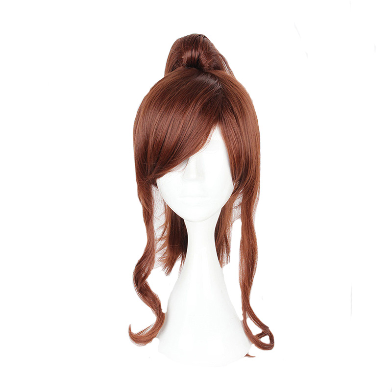 Mcoser 40CM Medium Curly Brown Color heat Resistant Synthetic One Ponytails hair 100% High Temperature Fiber WIG-057C