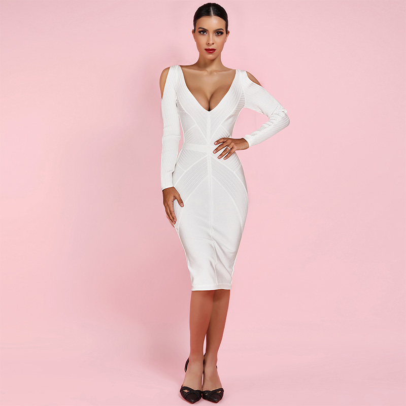 Ocstrade New Arrival 2019 Long Sleeve Bandage Dress Ribbed Women White Bandage Dress Bodycon Sexy Cold Shoulder Party Night in Dresses from Women 39 s Clothing
