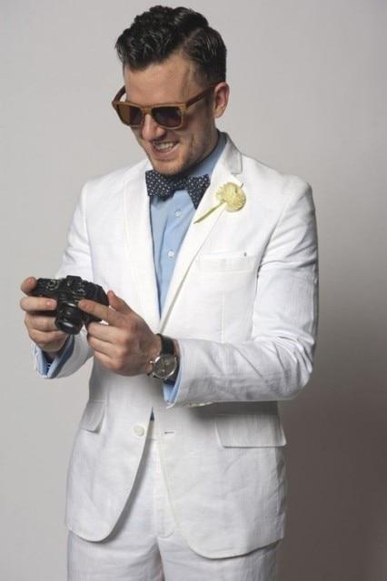 new styles b6b9f 9e544 US $94.99 5% di SCONTO|Ultimi Disegni Del Cappotto della Mutanda di Lino  Bianco Casual Spiaggia Vestito Da Uomo Slim Fit Tuxedo 2 Pezzo Blazer ...