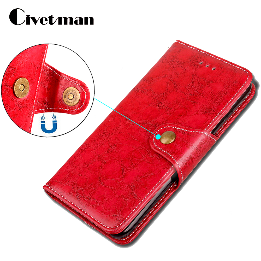 Cover Phone Case For Apple iphone 7 i7 8 i8 7 Plus 8plus Flip Retro Oil Wax Durable PU Leather TPU Shell Holster Bag Stand Strap