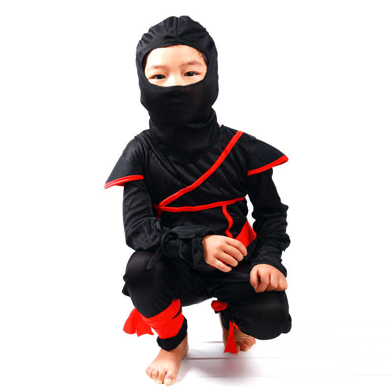 Child Ninja Costume Boys Assassin Warrior Martial Arts Fancy Dress Outfit New