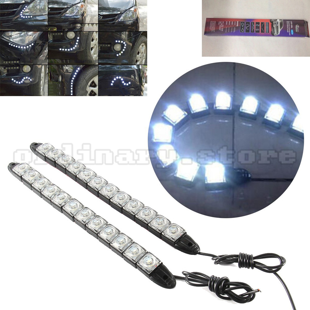 1 Pair 12 LED Strip Flexible Snake Style Eagle Eye Car DRL Daytime Running Light Driving Daylight Safety Day Fog Lamp 1 pair super bright 18w blue led eagle eye hawkeye car headlight drl daytime running light driving fog daylight safety head lamp