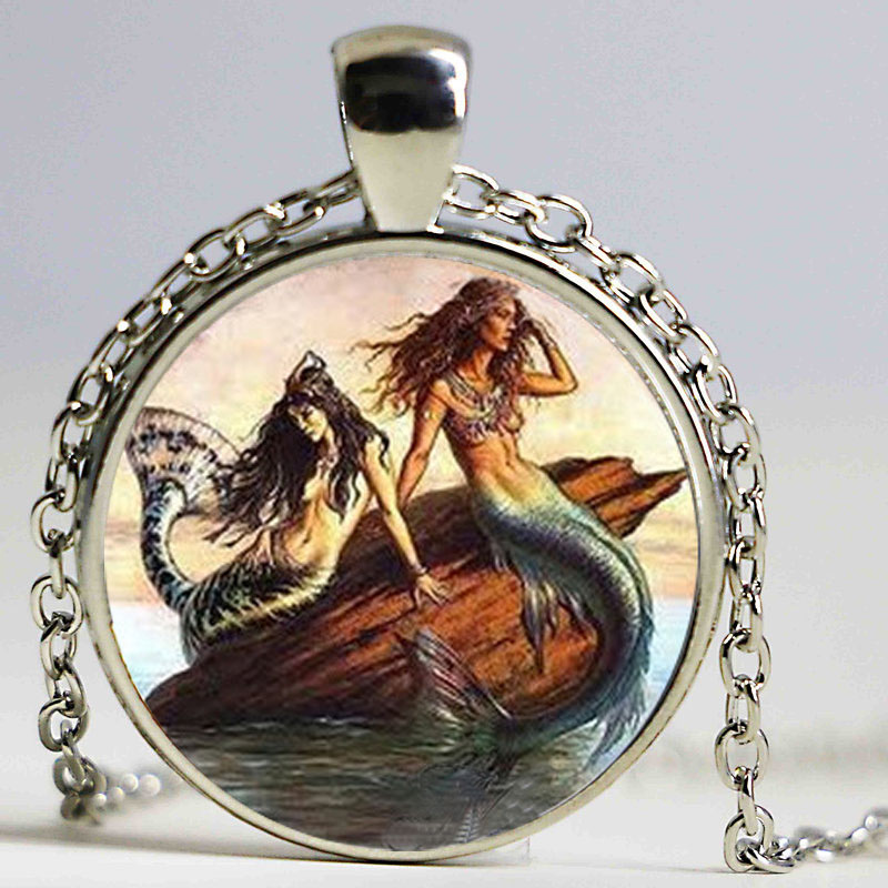 Gold hair Mermaid necklace,vintage red mermaid jewelry,silver plated Mermaid Pendant,nautical necklace art Sailing pendant gifts