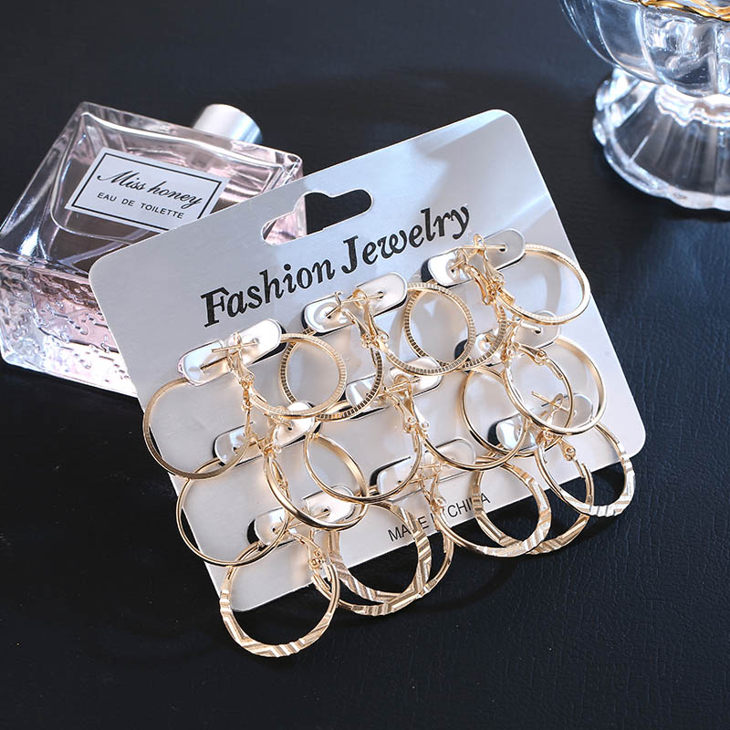 OATHYAN 9 Pairs/set Punk Round Silver Hoop Earrings Set For Women Fashion Gold Small Circle Earring Gifts Female Party Jewelry