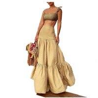 2019 Floral Print Two Piece Set Sleeveless Women High Waist Straps Beach Skirt Bohemian Suits Sexy Crop Tops And Maxi Skirt Set