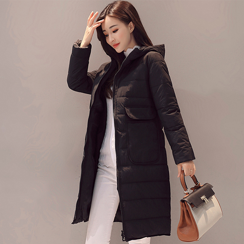 Candy Color 2019 New Arrival Women Winter Jacket Hooded Outwear Long Female   Parka   Padded Coat With Big Pockets