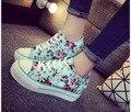 Весна/лето Новые Моды для Женщин, Холст Клинья Обувь Спорт Дышащий Шнуровке женская цветочный печати обувь Студентов повседневная обувь