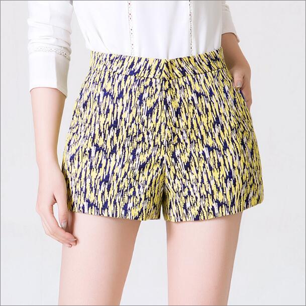 2016 New Spring Fashion Wide Leg Shorts Female Korean Big Yards High Waist Shorts Summer A-line Shorts Blue White Yellow A80295