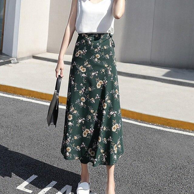 Boho Women Flower Long Skirt Summer Beach Sunny Skirts Floral Chiffon Tutu Skirt 1