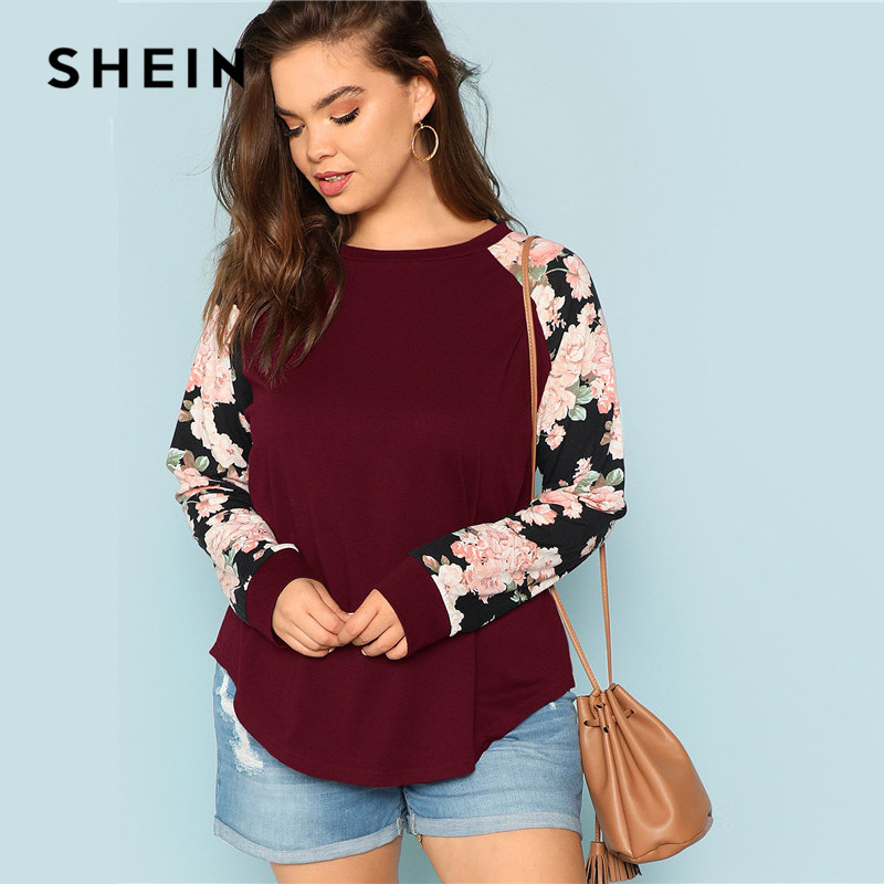 SHEIN Burgundy Plus Size Floral Print Long Raglan Sleeve Women Casual T Shirt  2018 O Neck Autumn Top Tees