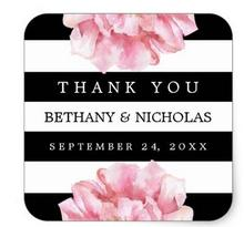 1.5inch Floral Wedding Thank You Favor Stickers