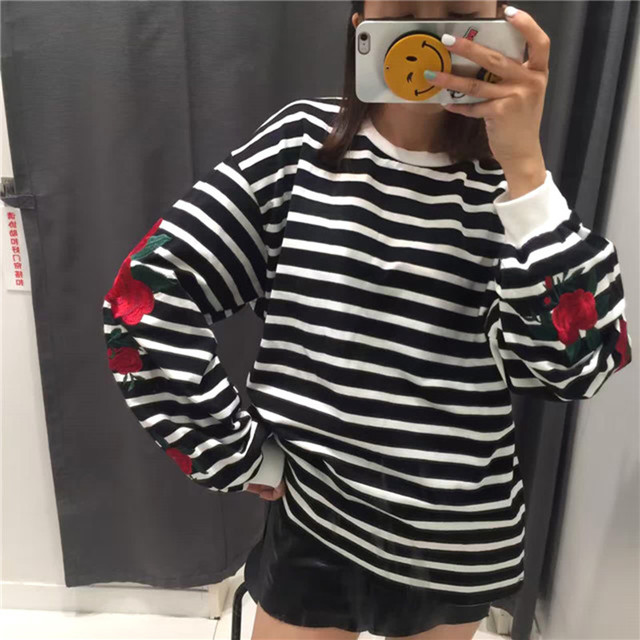 HziriP Autumn Harajuku Hoodies Roses Embroidery Lantern Sleeve Loose Striped Women Sweatshirt Girl Vintage Elegant Casual Tops 1