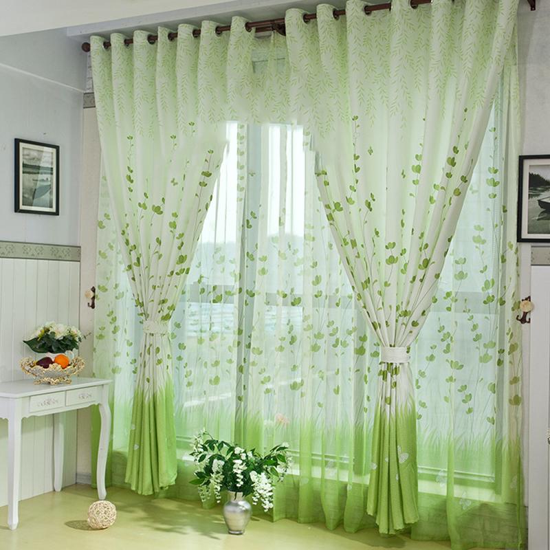 country style d hoja verde cortinas elegantes cortinas de saln para nios dormitorio cortina y tul