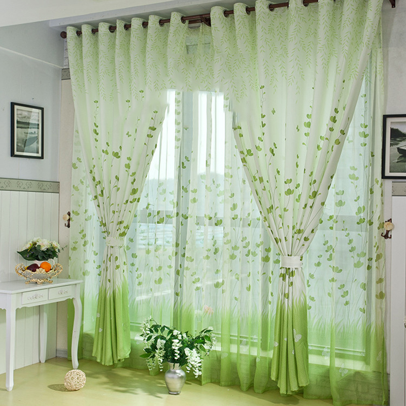 country style 3d curtains elegant living room green leaf curtains for children bedroom curtain