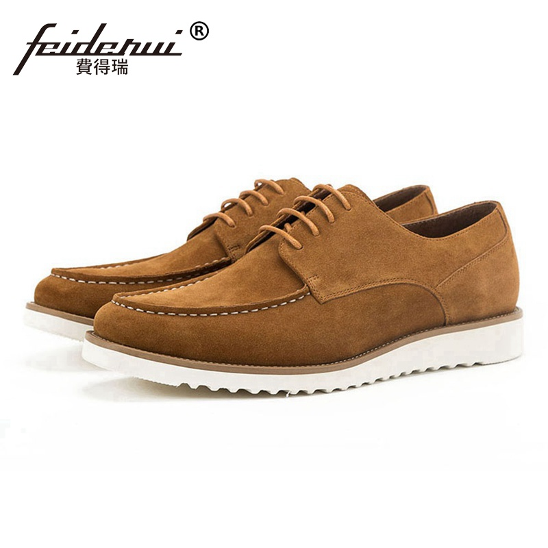 2018 Fashion Round Toe Lace up Man Flat Platform Casual Shoes Cow Suede Leather Men's Basic Handmade Outdoor Footwear SS228