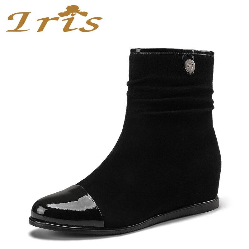 IRIS 2017 New Wedges Women Boots Fashion Flock High-heeled Platform Ankle Boots Lace Up High Heels Spring Autumn Shoes For Women напольная акустическая система canton ergo 670 wenge