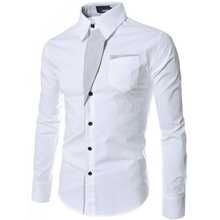 Mens' Dress Shirt Designer Social Shirt Slim Fit Long Sleeve Cotton Shirt White Black Formal Shirt Male MT45