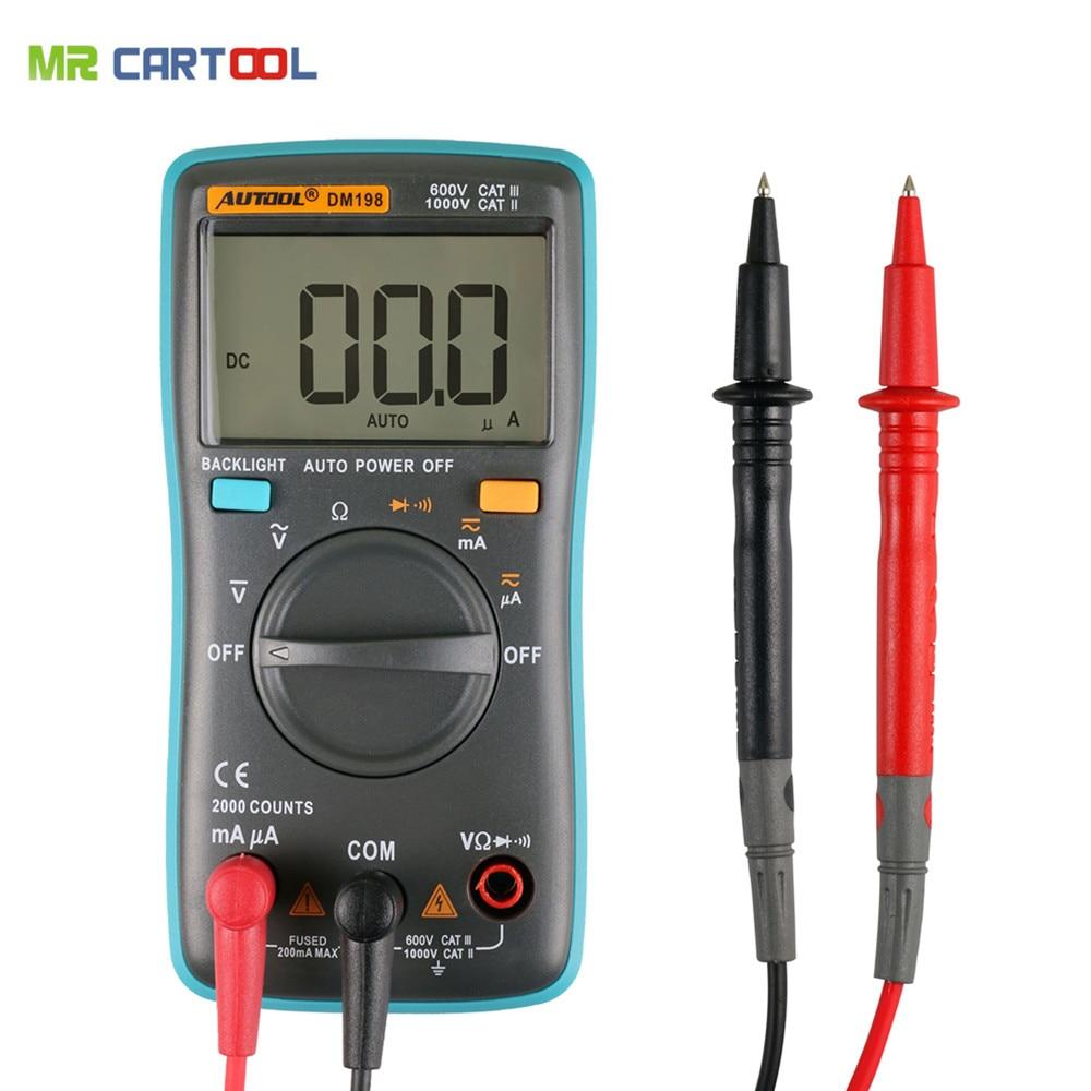 Prix pour Autool dm198 autoranging multimètre numérique 2000 points rétro-éclairage ac/dc ampèremètre voltmètre ohm mètre portatif