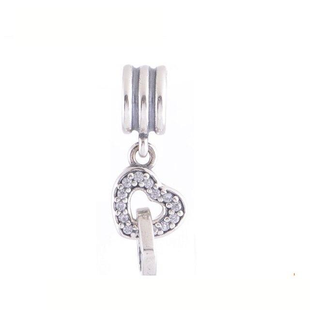 59778ee39 Fits Pandora Bracelets DIY 2014 Interlocking love with clear cz memory  locket key charm fine 925 pendants