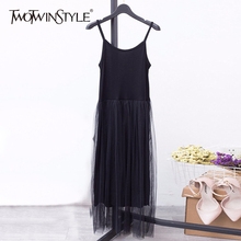 Midi Dresses TWOTWINSTYLE Big-Size Casual Clothing Spaghetti-Strap Patchwork Spring Summer