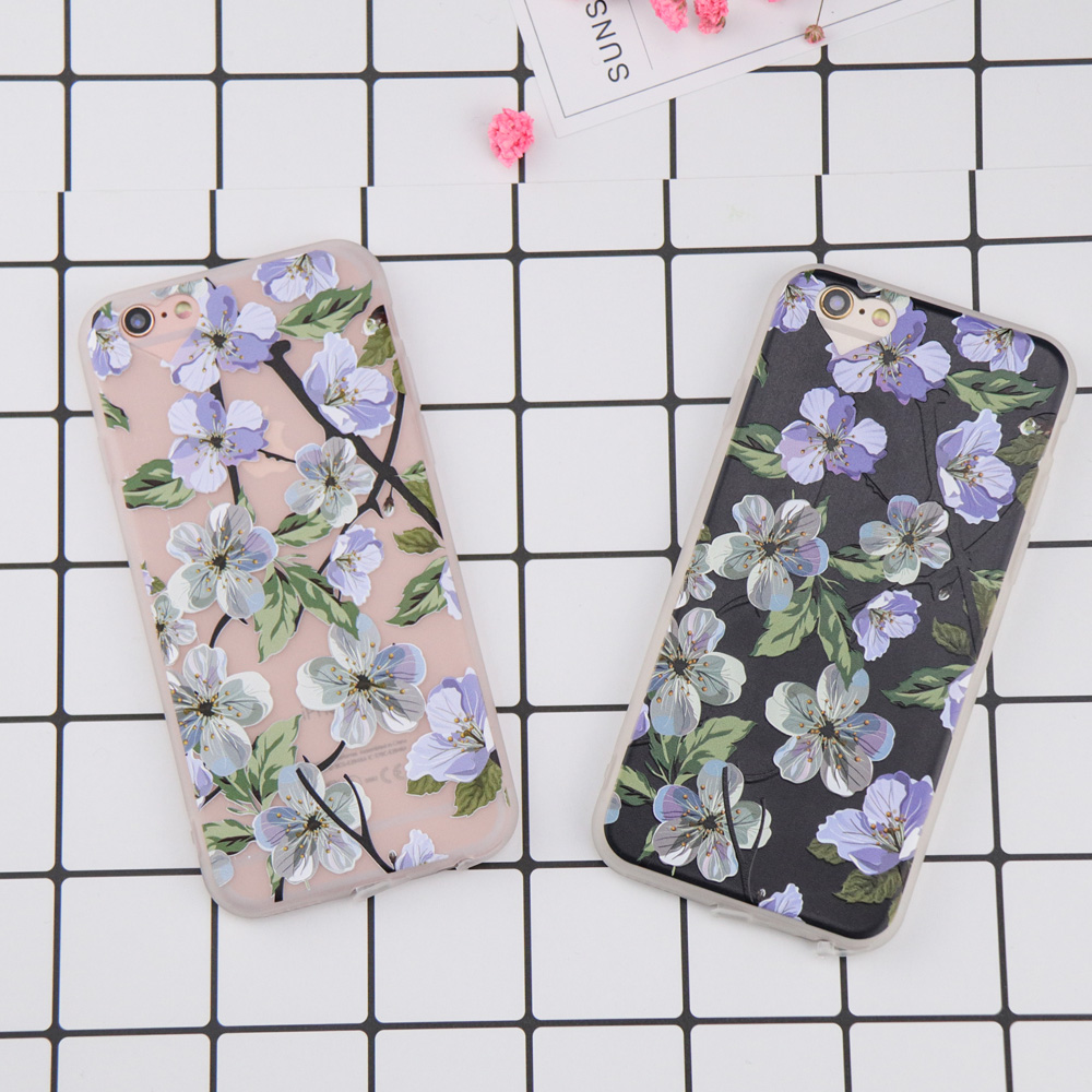 For iphone 6 case Sketch Flower Pattern case for iphone 7 case DILLON GUAN Retro Floral Soft phone cover capa for iphone 8 case