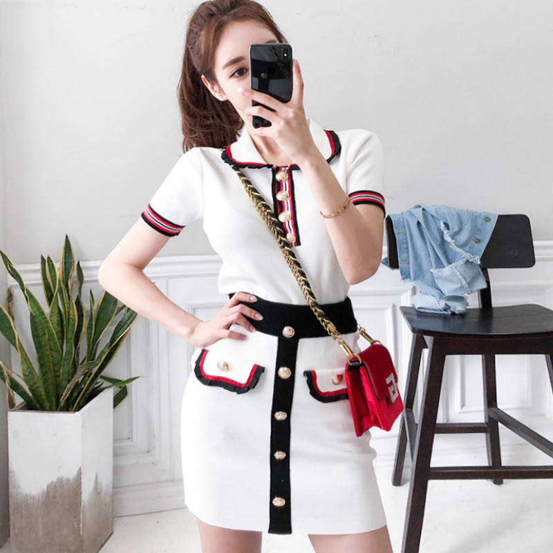 2019 Summer Two Piece Knitted Cloth Sets Short Sleeve Top Single Breasted Mini Bodycon Skirt Suit Daily Dress