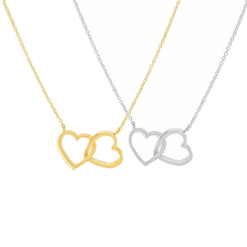 Romantic Couple Heart Pendant Necklace For Women Stainless Steel Choker Collier Femme Wedding Jewelry Valentine's Day Gift
