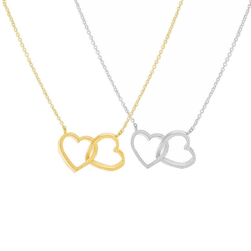 Romantisches Paar Herz Anhänger Halskette für Frauen Edelstahl Choker Collier Femme Hochzeitsschmuck Valentinstag Geschenk