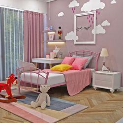 Panana Стильная красивая розовая металлическая кровать для принцессы рамка 3 фута Одиночная для девочек детей