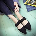 Female flat heel shoes 2017 spring women pointed toe elegant bow comfortable flats shallow mouth casual work shoes