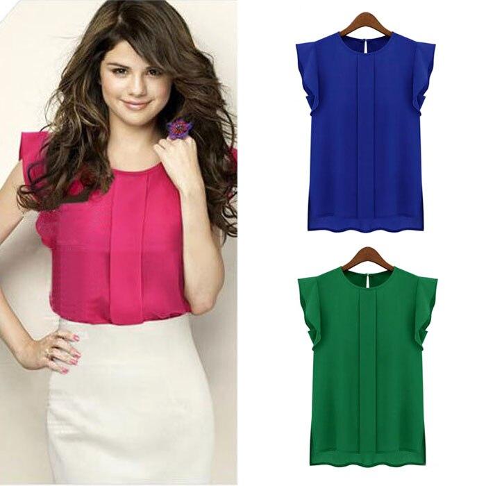 2019 New hot Solid T Shirt Women Shirts 100% Chiffon O Neck Short Sleeve Summer T-Shirt Tops Casual Tshirt red blue green q60
