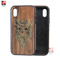 Cat Full Wood Case For IPhone X 10 Real Bamboo TPU Soft Edge Cell Phone Cover