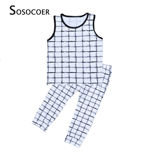 453b2c89d SOSOCOER Boy Girl Clothing Sets 2017 New Summer Plaid Sleeveless T ...