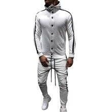 MJARTORIA Весенний мужской спортивный костюм Slim Fit в полоску с длинным рукавом Спортивная одежда