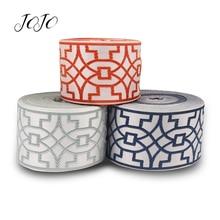JOJO BOWS 90mm Grosgrain Ribbon Geometric Embroidery Webbing For Needlework DIY Handmade Craft Supplies Garment Sewing Accessory