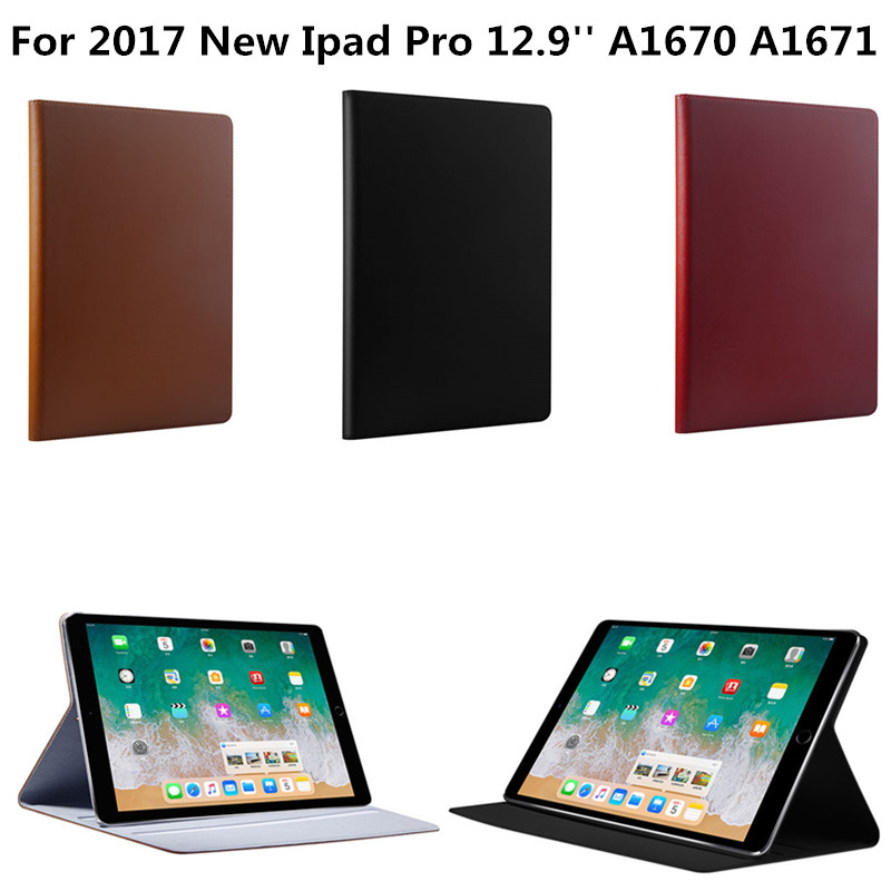 Business Genuine Leather Case for Apple New iPad Pro 12.9 inch 2017 Release Stand Smart Cover For A1670 A1671 Tablet PC shockproof case for ipad pro 10 5 military duty armor kickstand pc silicone stand cover case for apple ipad pro 10 5 inch tablet