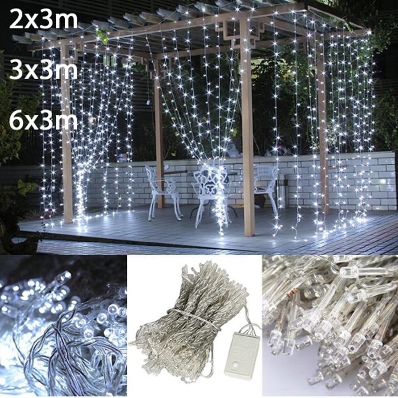 2x3/3x3/6x3m Waterfall Christmas Led String Fairy Lights Garland Home Holiday Decoration Wedding Led Curtain Light, Ac 220V/110V