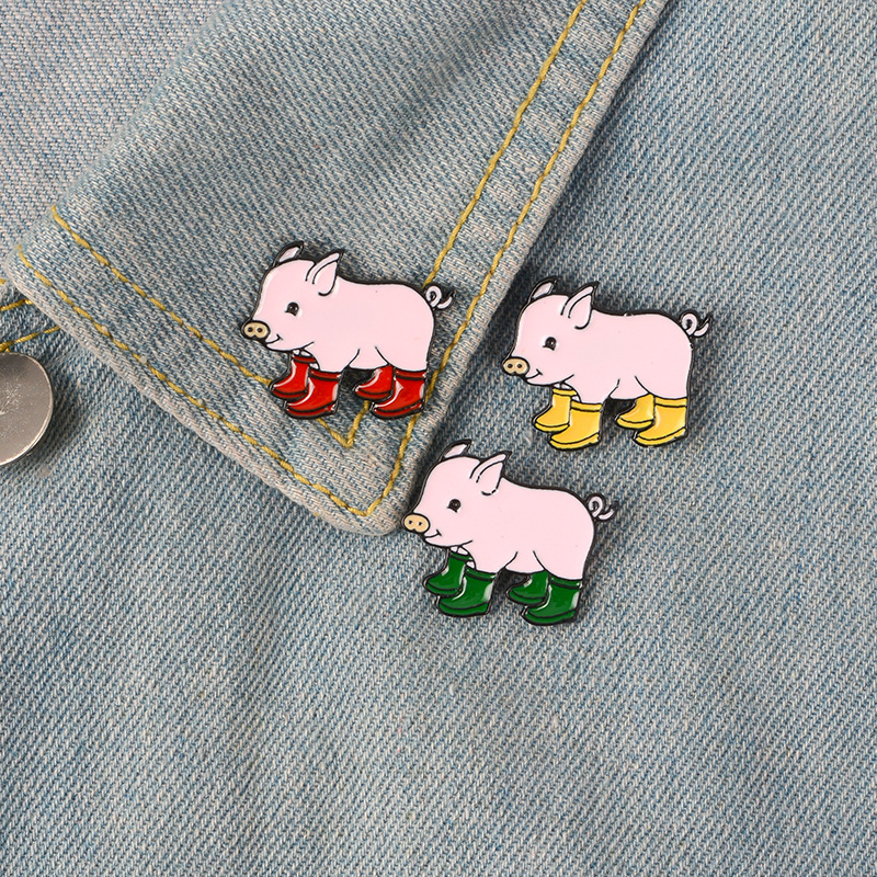 Cute PinsRain Boots Pig Soft Enamel Lapel Pin Badge Brooches Denim Jeans Lapel Pin Cartoon Animal Jewelry Gift for Kids Friends in Brooches from Jewelry Accessories