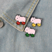 Cute PinsRain Boots Pig Soft Enamel Lapel Pin Badge Brooches Denim Jeans Lapel Pin Cartoon Animal Jewelry Gift for Kids Friends(China)