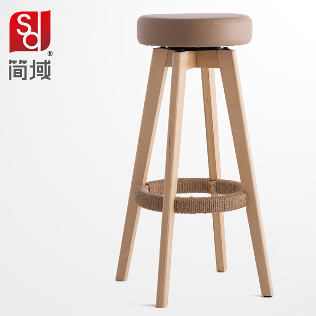 Jane Domain Tall Stools Wood Bar Chair Stool Minimalist Fashion Legs Washable Cloth