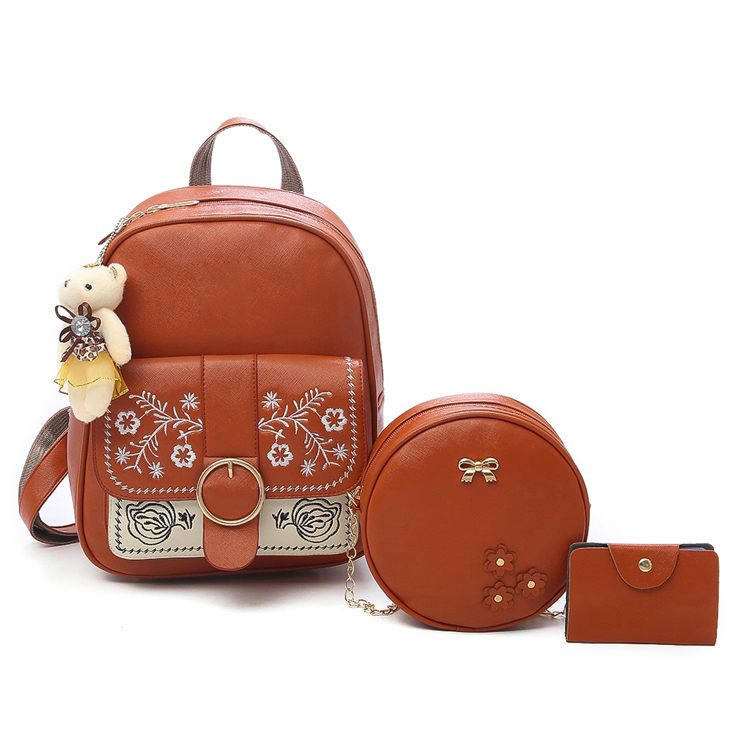 3pcs/Set Women Backpack Leather Composite Bags Backpack for Teenage Girls Female School  ...