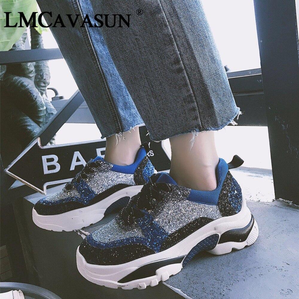 LMCAVASUN Women Glitter Platform Sneakers 2019 Fashion Women's Chunky Shoes Woman Sequins Vulcanize Sapatos Das Mulheres