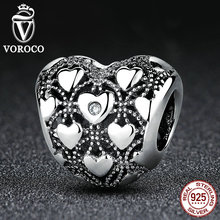 VOROCO Romantic 925 Sterling Silver Club Charm 2016 Heart Charms Fit Pandora font b Bracelet b