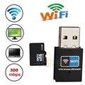Mini USB WiFi 300 Mbps Adaptador Wifi USB Receptor Tarjeta de Red 802.11b/n/g Adaptador Inalámbrico Wifi Dongle para el Ordenador Portátil de Escritorio