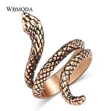 Anillos De Serpiente caliente Kinel para mujeres antiguo oro rosa negro metales pesados Punk Rock anillo Vintage Animal joyería al por mayor