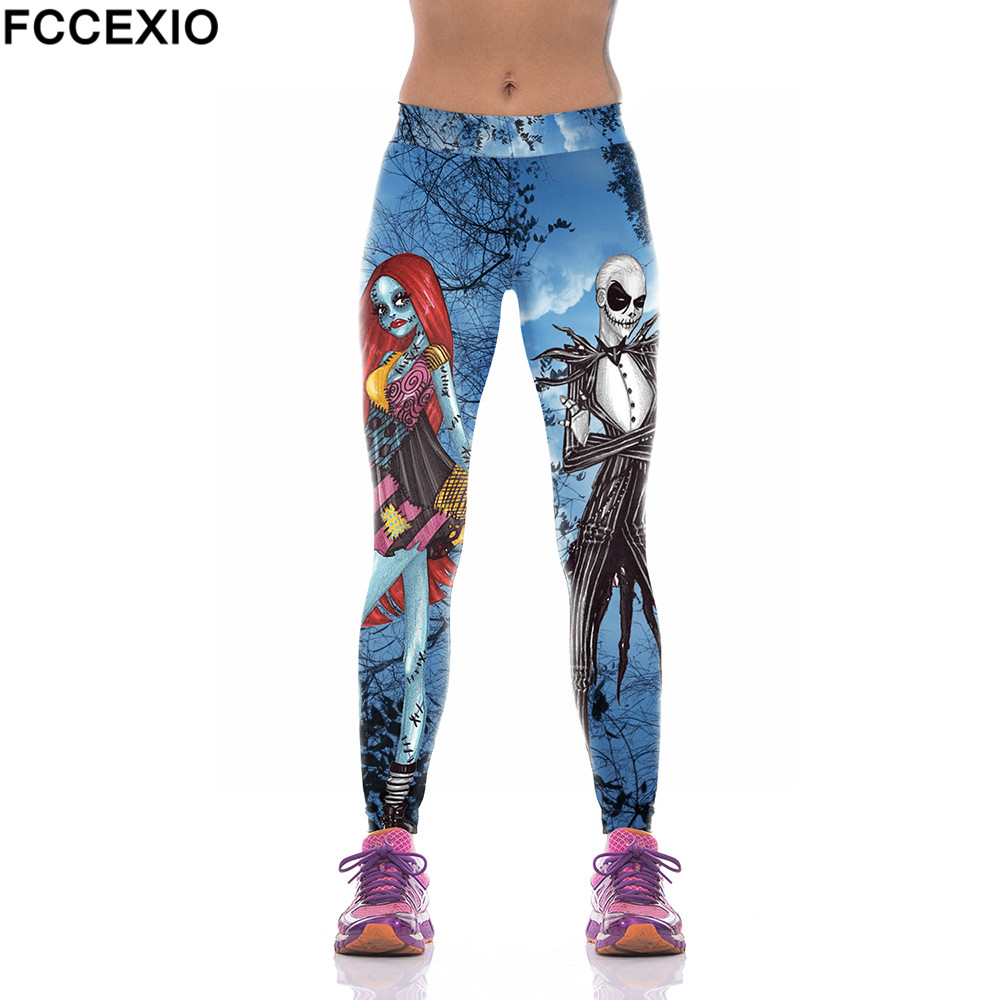 FCCEXIO 2019 New Design Skeleton Print Women's Workut Leggings 3D Skull Slim Fitness Leggings High Elastic Trousers Women Pants